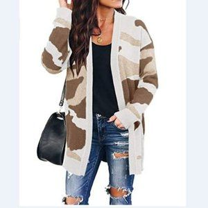 Camo Cardigan with pockets Open Front Sweaters